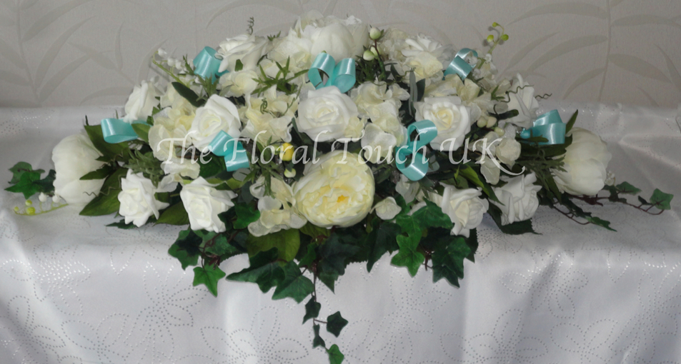 Tiffany Blue/Aqua Peony & Rose Top Table Centrepiece