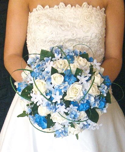 Blue Hydrangea Amp Ivory Rose Wedding Bouquet