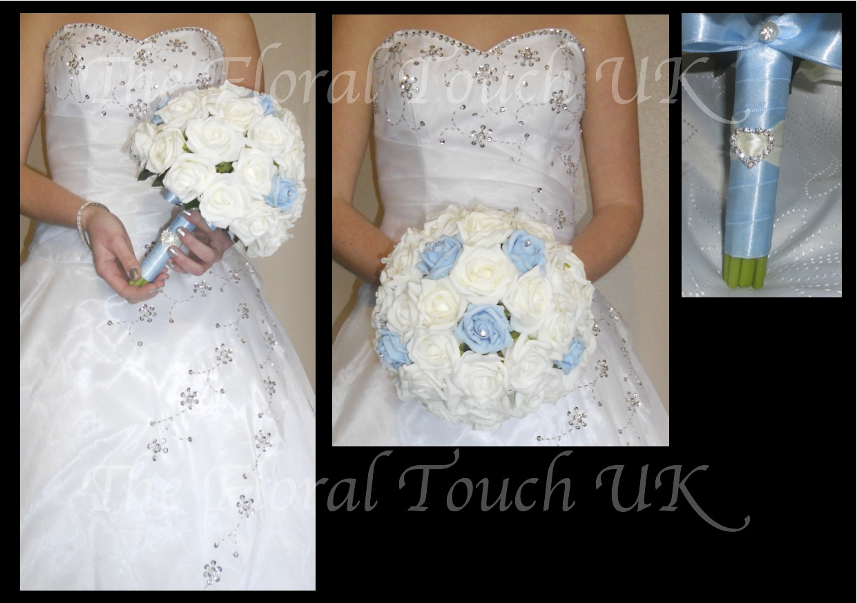 Baby Blue & Ivory Wedding Bouquet