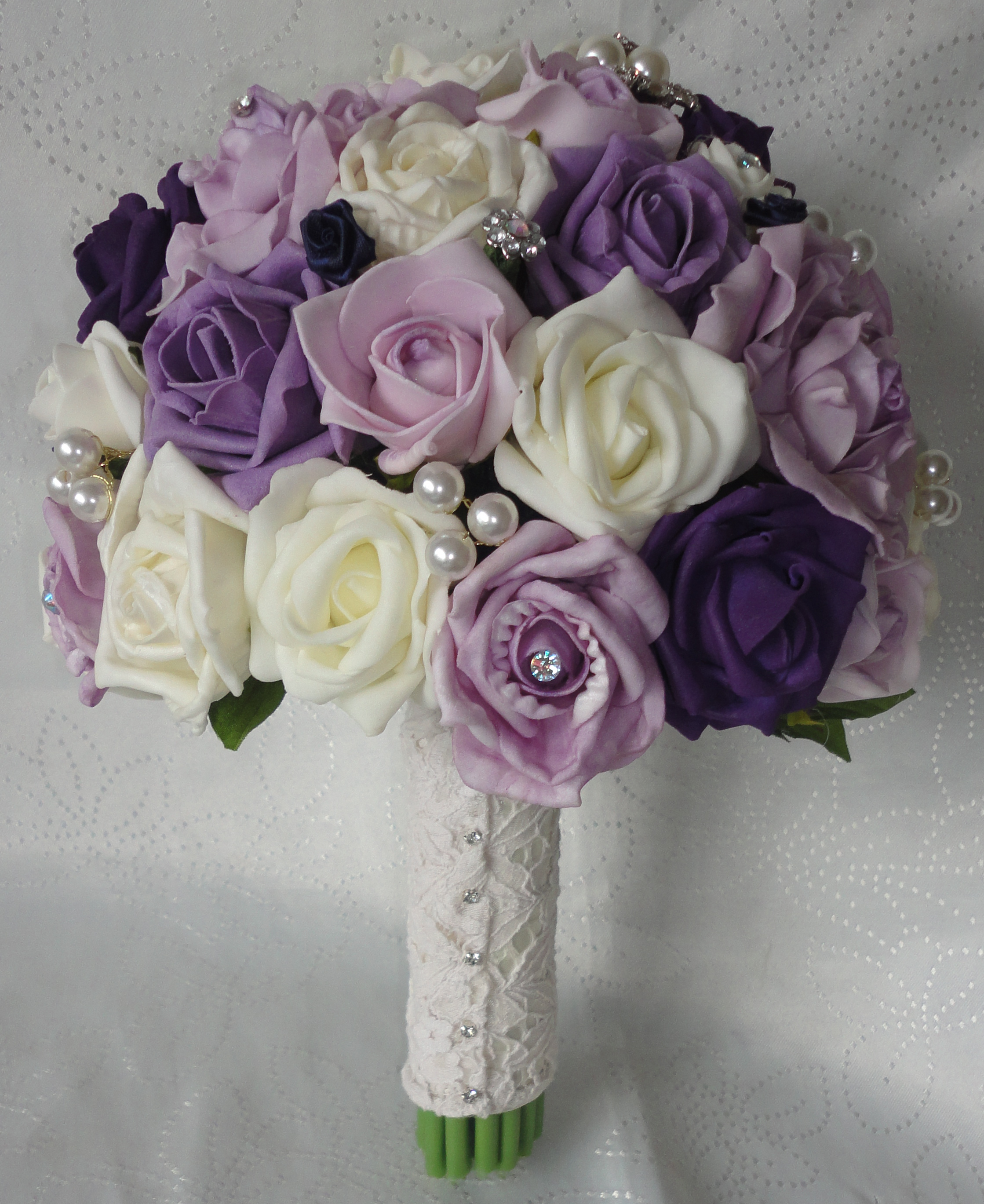 Plum and ivory wedding bouquet bb353 for Bouquet of flowers for weddings