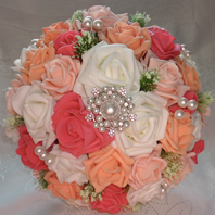 Coral & Ivory Bridal Bouquet