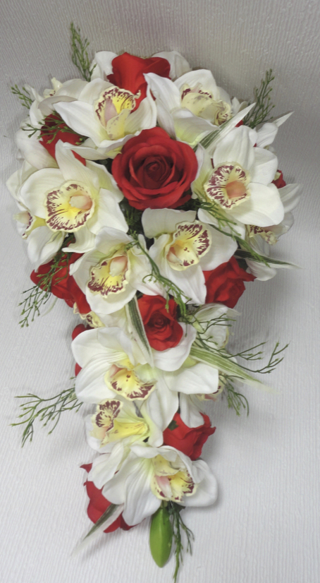Rust & Ivory Rose & Orchid Bridal Bouquet
