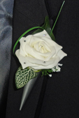 Ivory Diamante Rose Buttonhole In Holder