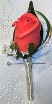 Coral Rose Bud Buttonhole