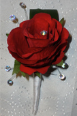 Red Rose Buttonhole With Crystals