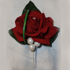 Deep Red Rose Buttonhole With Pearls