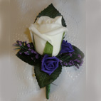 Ivory & Purple Rose Bud Buttonhole