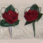 Lifelike velvet touch Red Rose Buttonhole