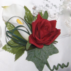 Real Touch Calla Lily & Red Rose  Buttonhole