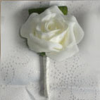 Single Rose Buttonhole - Small single polyfoam rose with folded real touch fiscus leaf - stem wrapped in ivory satin ribbon or choice of colour.