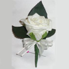 Ivory Rose Buttonhole - Lifelike polyfoam rose with rose leaf backing and finished with organza bow.