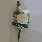 Double Rose Buttonhole - Lifelike polyfoam roses with thistle, trachelium & various foliage - stem wrapped in natural green floral tape.