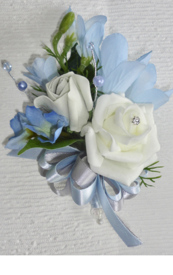 Baby Blue, Silver & White Corsage