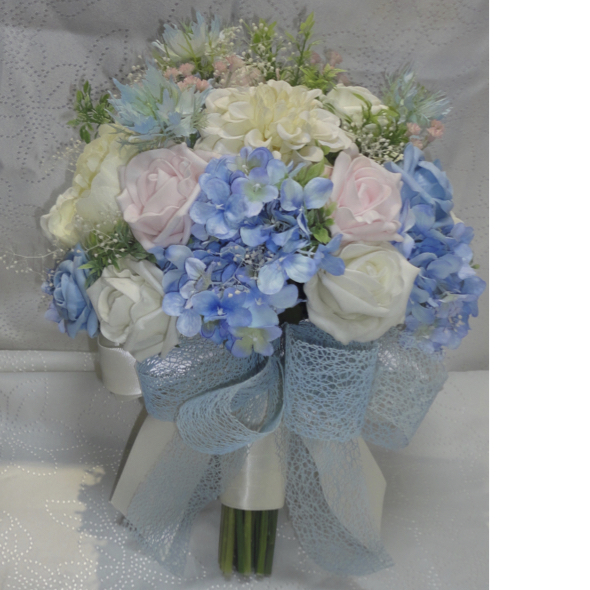 Silk wedding bouquets the floral touch uk south yorkshire baby pink blue wedding bouquet beautiful delicate blues and pinks make up this gorgeous hand tiedbouquet of hydrangea lifelike polyfoam roses nigella mightylinksfo