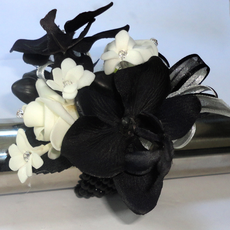 lack and Ivory Orchid and Rose Wrist Corsage with Diamante Stephanotis
