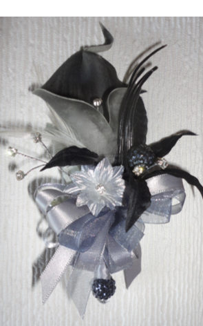 Real Touch Grey Calla Lily with Silver & Black - Corsage