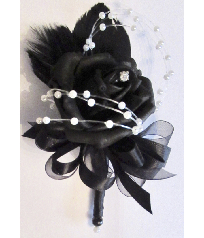 Small Black Rose Corsage with feathers and pearl loops