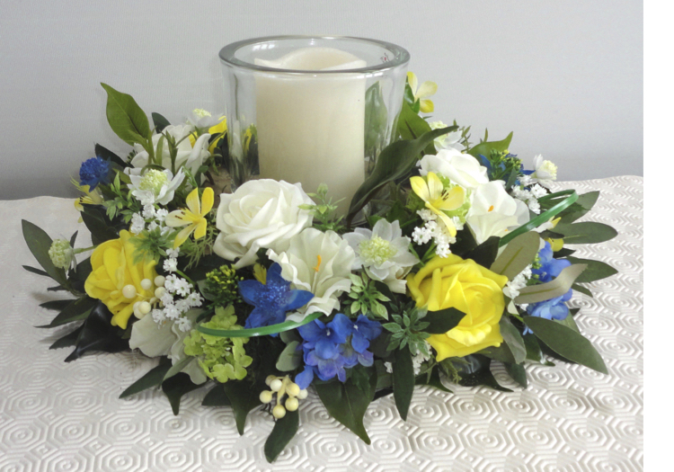 Lemon & Blue Floral Centrepiece Wreath