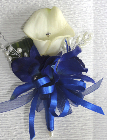 Midnight Blue Dendrobium Orchid & Ivory Calla Lily Corsage
