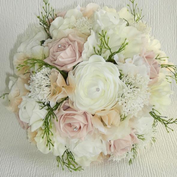 Blush & Ivory Lifelike Bridal Bouquet