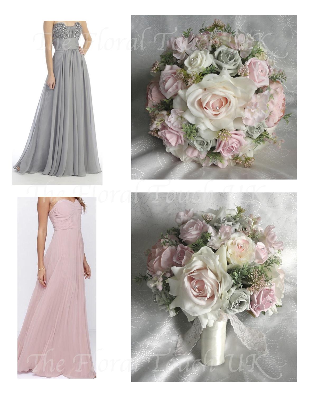 Blush Pink, Baby Pink, Silver Grey Wedding Bouquet