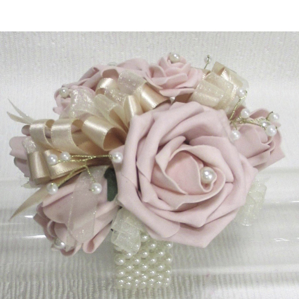 Blush Pink & Champagne Wrist Corsage with Gold Pearl Sprays