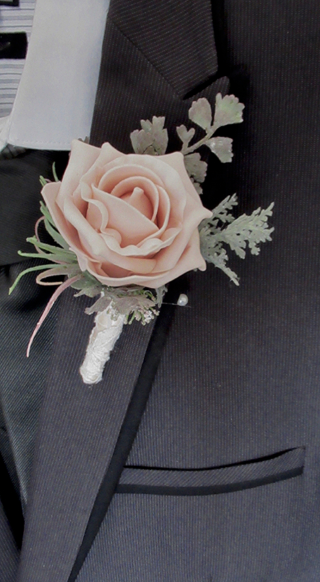 Blush Rose Buttonhole With Lace Wrap