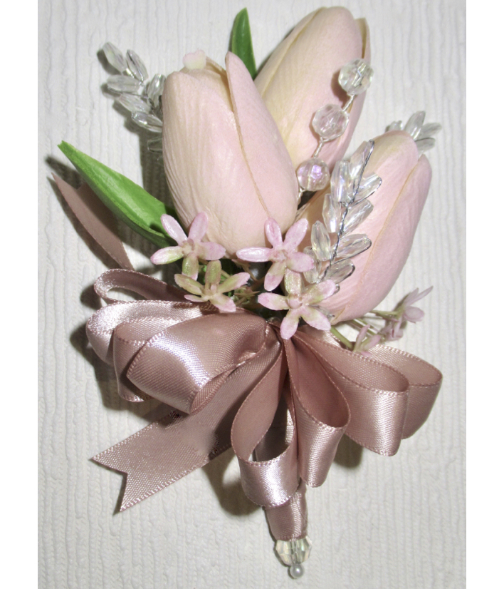 Blush Real Touch Tulip Corsage
