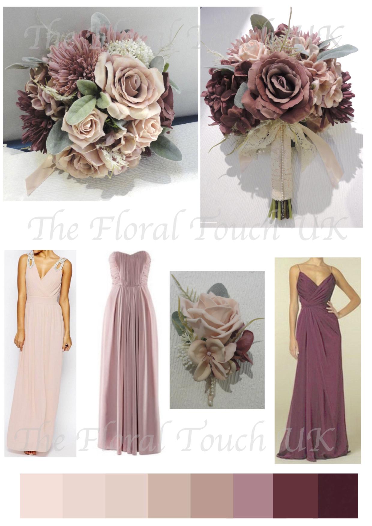 Blush Dusky Pink Wine Bridal Bouquet