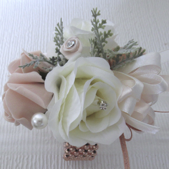 Blush & Ivory Wrist Corsage With Rose Gold Accents