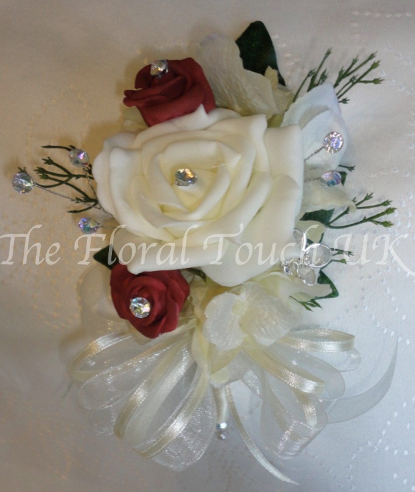 Burgundy & Ivory Rose Corsage With Crystals