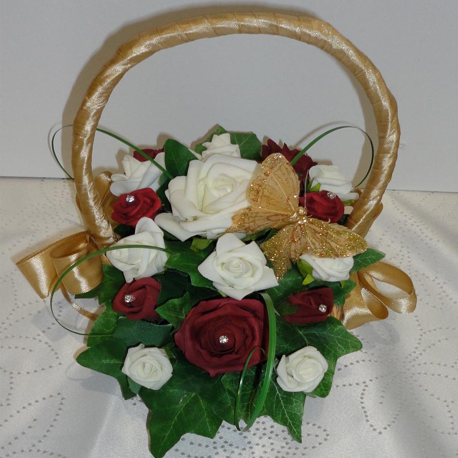 Baskets for flower girls the floral touch uk vintage flower girl burgundy gold ivory flower girl basket beautiful izmirmasajfo