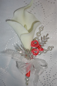 Coral & Ivory Real Touch Calla Lily & Gem Corsage