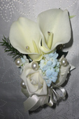 Real Touch Calla Lily and Rose Corsage with small blue flower cluster
