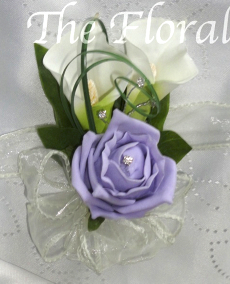Lilac & Ivory Calla Lily & Rose Corsage