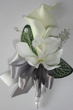 Ivory Calla Lily & Orchid Corsage