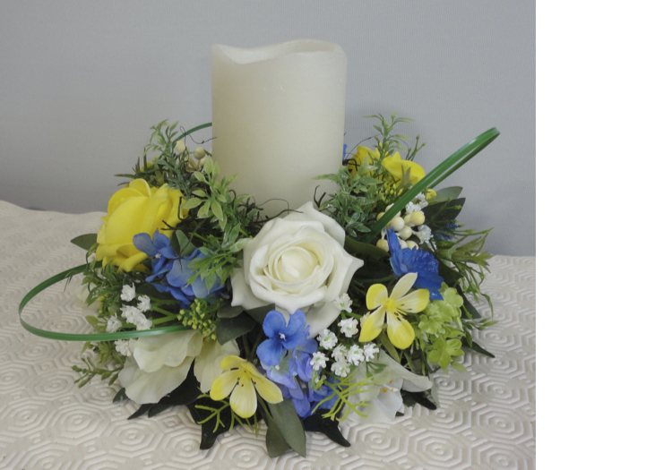 Lemon, Blue & Ivory Candle Wreath Centrepiece