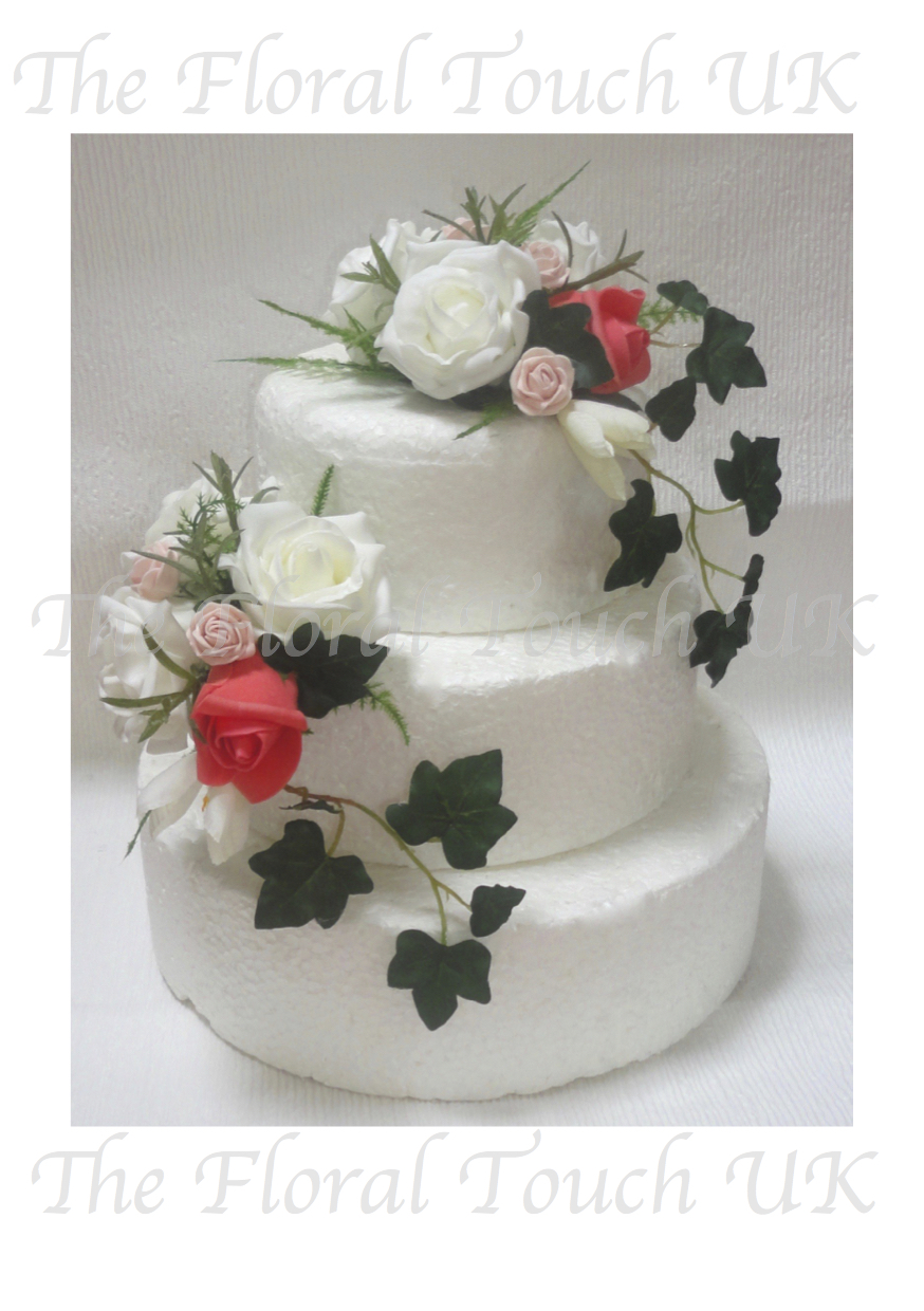 Cake toppers the floral touch uk cake tier displays coral blush ivory cake sprays junglespirit Choice Image
