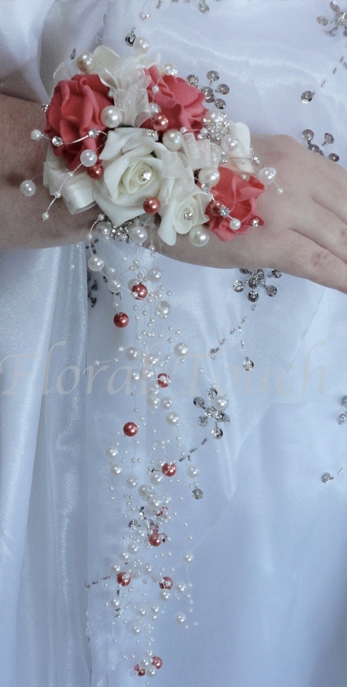 Coral & Ivory Wrist Corsage with Cascading Pearls
