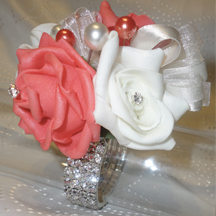 Coral & Ivory Rose Wrist Corsage