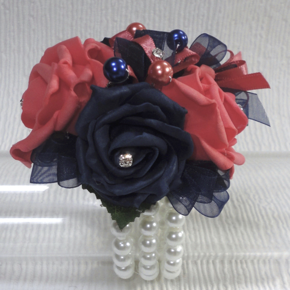 Coral & navy Wrist Corsage