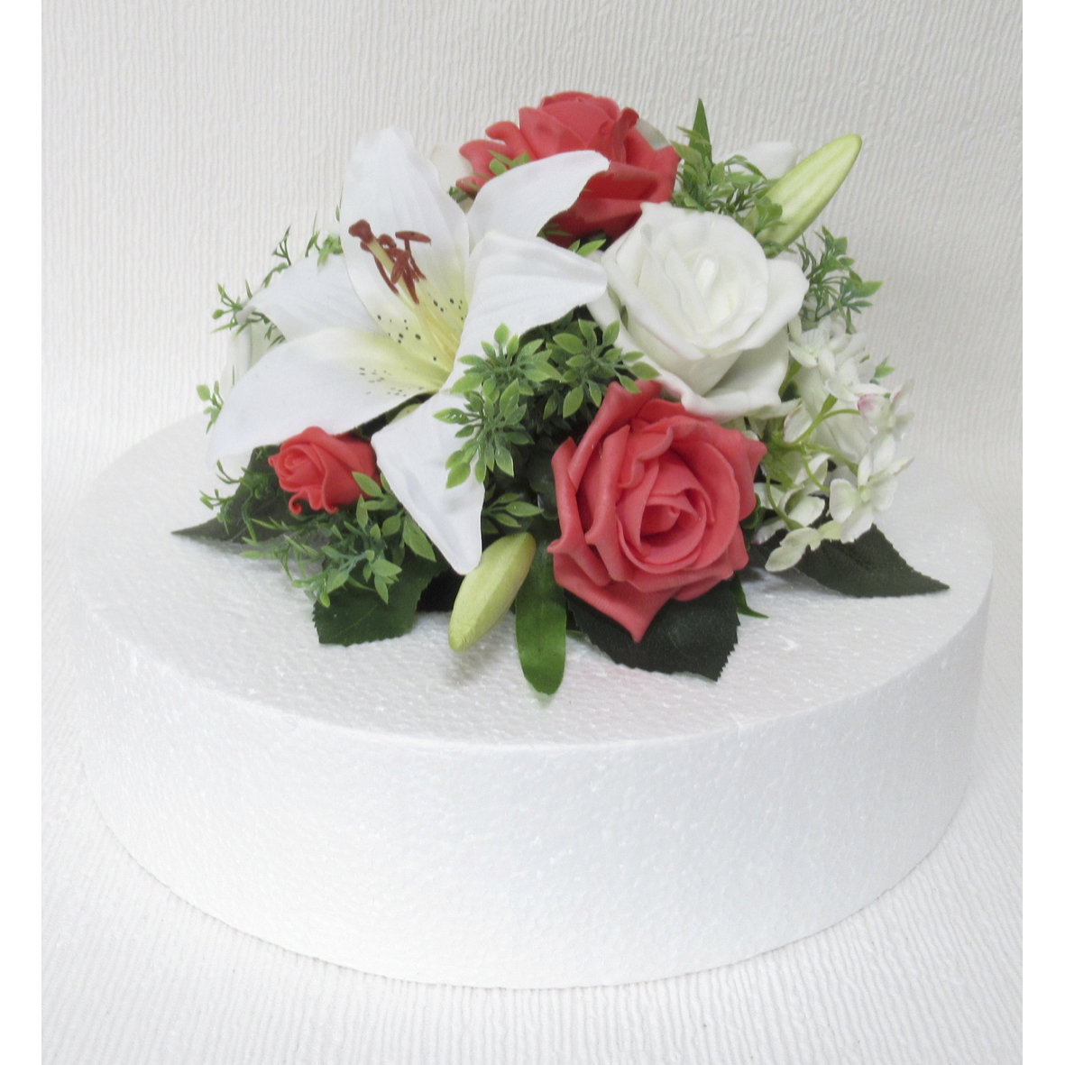 Coral & Ivory Rose Cake Topper
