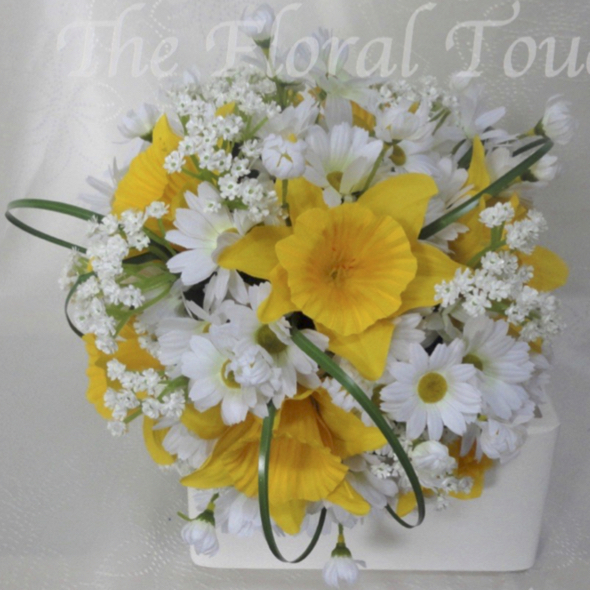 Daisy Daffodil Wedding Bouquet With Gypsophila