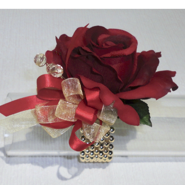Deep Red & Gold Prom Corsage