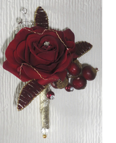 Deep Red Fresh Touch Rose Corsage with Gem Leaves