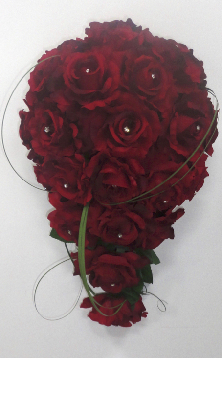 Red Rose Teardrop Bridal Bouquet with Diamantes