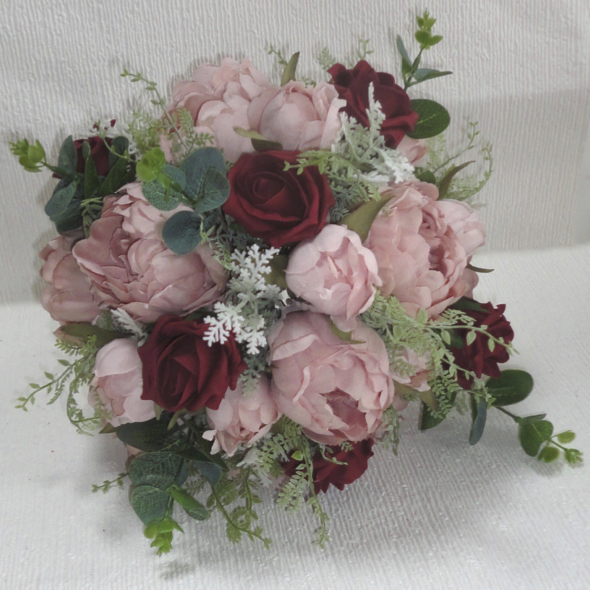 Silk wedding bouquets the floral touch uk south yorkshire burgundy dusky pink peony rose wedding bouquet beautiful dusky pink peonies with burgundy polyfoam roses with real touch eucalyptus leaves mightylinksfo