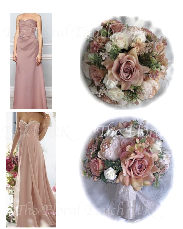Dusky Pink Vintage Style Bridal Bouquet