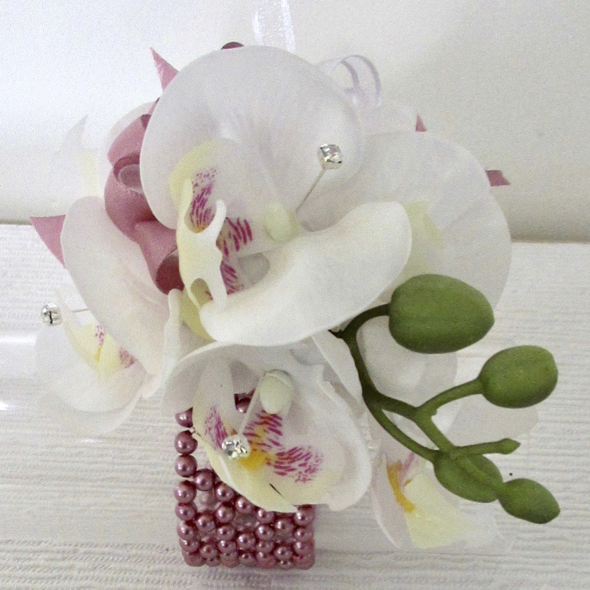 White Real Touch Orchid Wrist Corsage