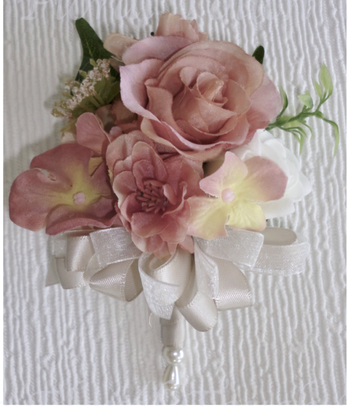 Dusky Pink Mix with Ivory Rose & champagne & Ivory Corsage Bow